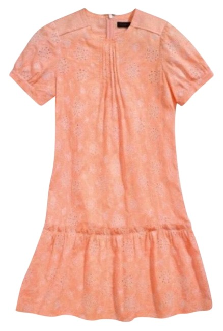 Item - Peach Embroidered Floral Short Casual Dress Size 2 (XS)