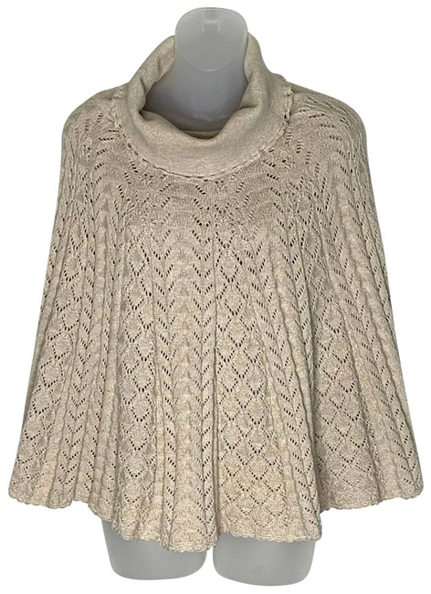 Item - Cream XS Moth Cowl Neck Sweater Beige Lined Cotton Poncho/Cape Size 2 (XS)
