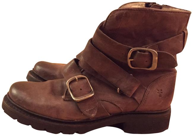 Item - Brown Leather Moto Boots/Booties Size US 5.5 Regular (M, B)