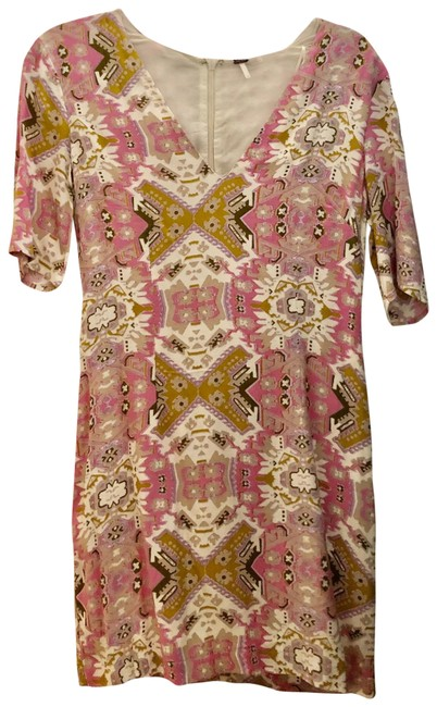 Item - Pink/Cream/Olive Short Casual Dress Size 6 (S)