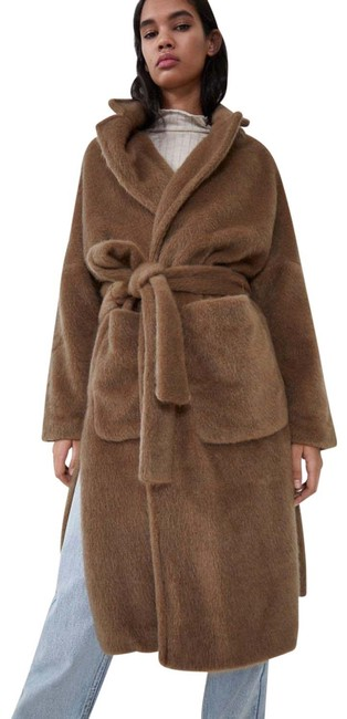 Item - Brown XS W Faux Fur Belted W/ Slits On Sides Dark Camel New. Coat Size 2 (XS)