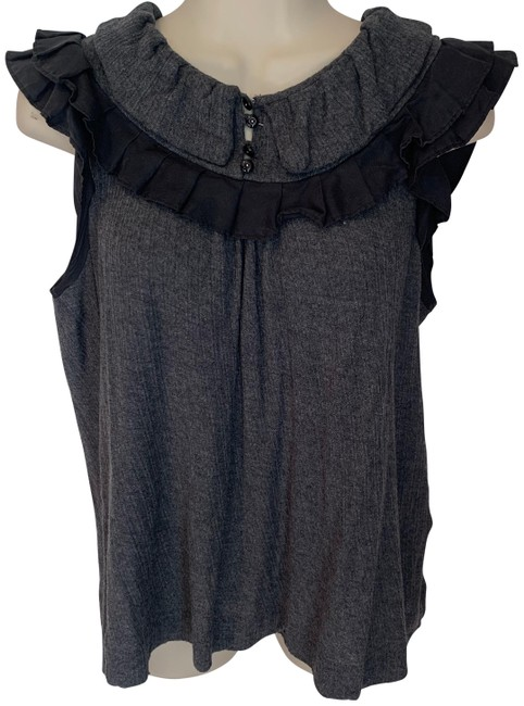 Item - Grey and Black Ruffled Blouse Size 8 (M)