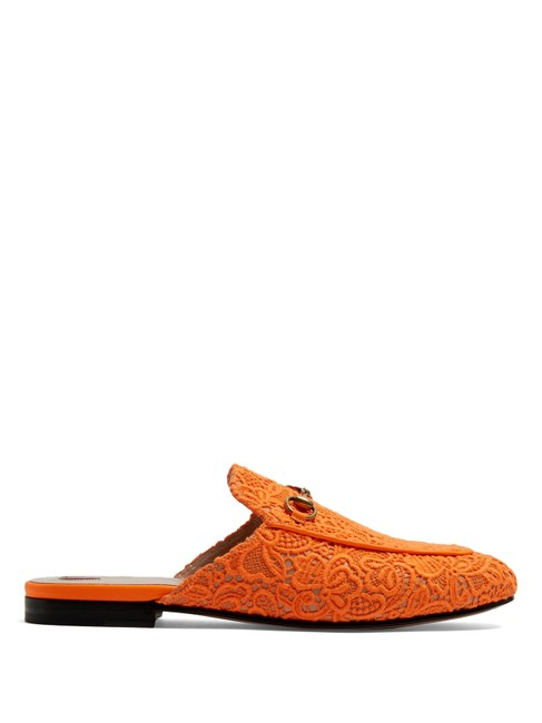 Item - Orange Princetown Floral-lace Backless Loafers Flats Size EU 38 (Approx. US 8) Regular (M, B)