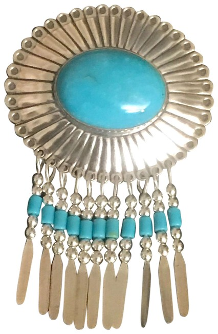 Item - Blue Sterling Silver Concho Paddled Pendant with Sleeping Beauty Turquoise Necklace