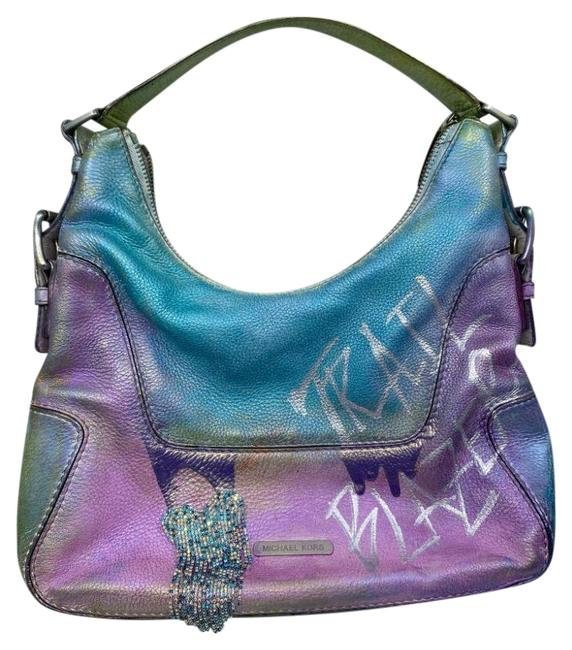 Item - Bag W Large Customized W/ Cosmic Purple Blue Leather Tote