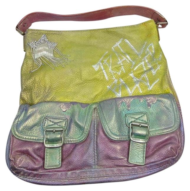 Item - Bag Large Customized Purple Yellow Blue Leather Tote