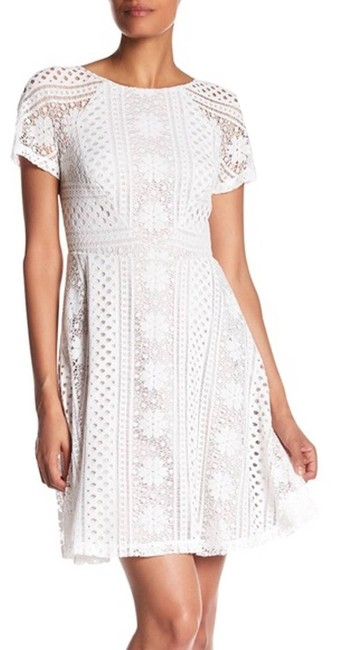 Item - Cream Striped Lace Fit & Flare Ivory Mid-length Cocktail Dress Size 8 (M)