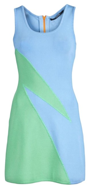 Item - Blue Techno Colorblock Short Casual Dress Size 4 (S)