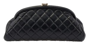 Chanel Kisslock Lambskin Quilted Black Clutch