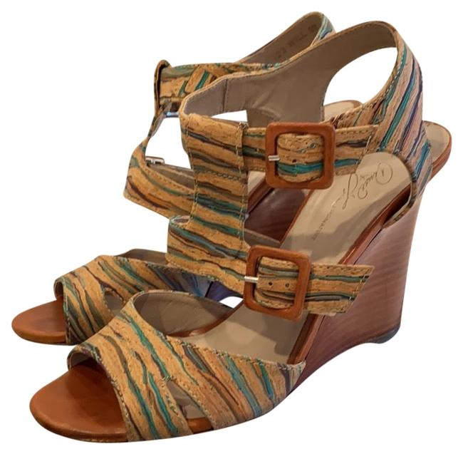 Item - Multi Color Hand Painted Wedges Size US 9 Regular (M, B)