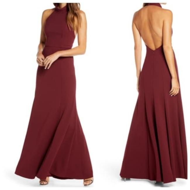 Item - Red Petra Halter Crep Gown In Hibiscus Formal Bridesmaid/Mob Dress Size 16 (XL, Plus 0x)