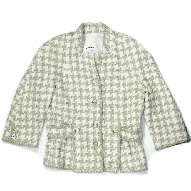 Item - White Grey Blue Green 2008 Tweed Houndstooth Jacket Cc 08p - - 4 Blazer Size 8 (M)