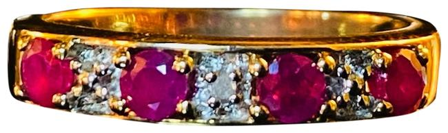 Item - Gold Magenta Pink 10k Ruby Solid Ruby Diamond Channel Set Ruby Ring