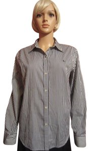 Ralph Lauren Button Down Shirt Black & White Stripes