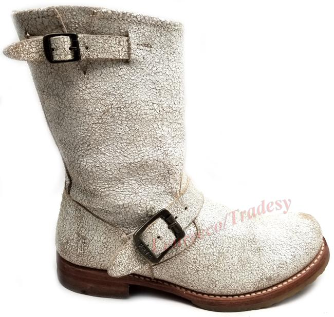 Item - White Crack Distress 'veronica Short' 76516 Leather Engineer Boots/Booties Size US 7.5 Regular (M, B)