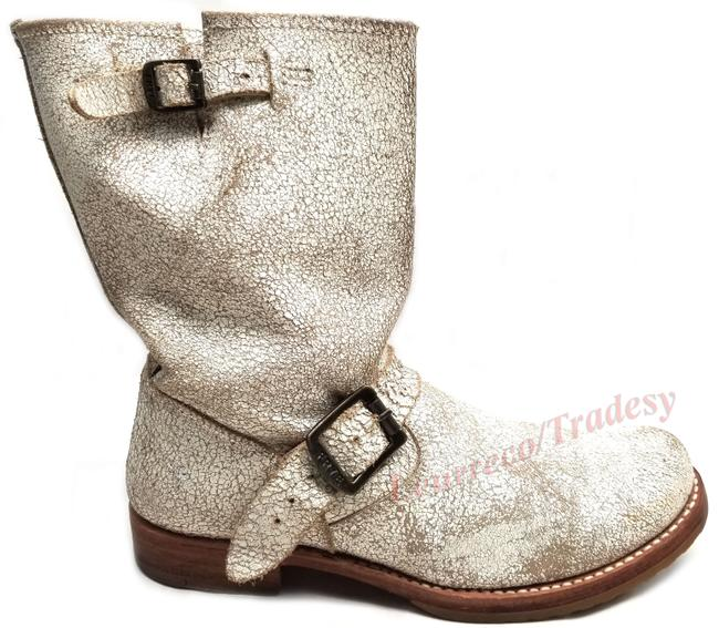 Item - White Crack Distress 'veronica Short' 76516 Leather Engineer Boots/Booties Size US 9 Regular (M, B)