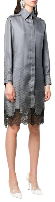 Item - Grey/Black Long-sleeved Shirt In with Lace - 38 Mid-length Night Out Dress Size 4 (S)