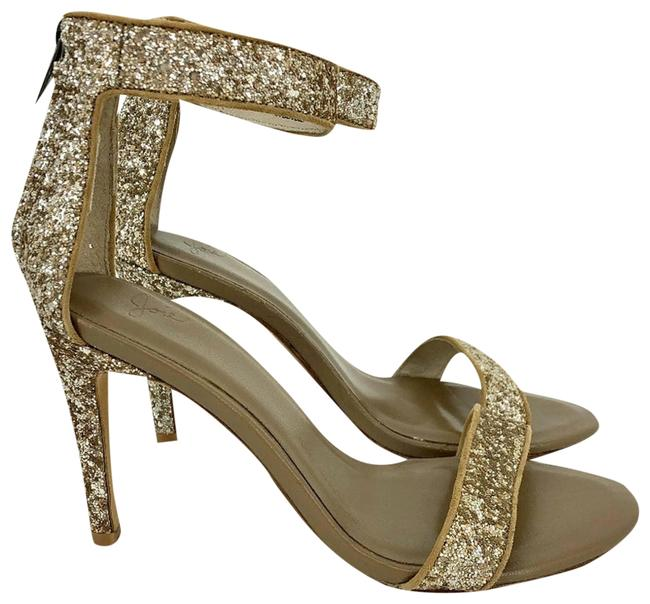 Item - Gold Adriana Glitter Ankle Strap Formal Shoes Size US 7 Regular (M, B)