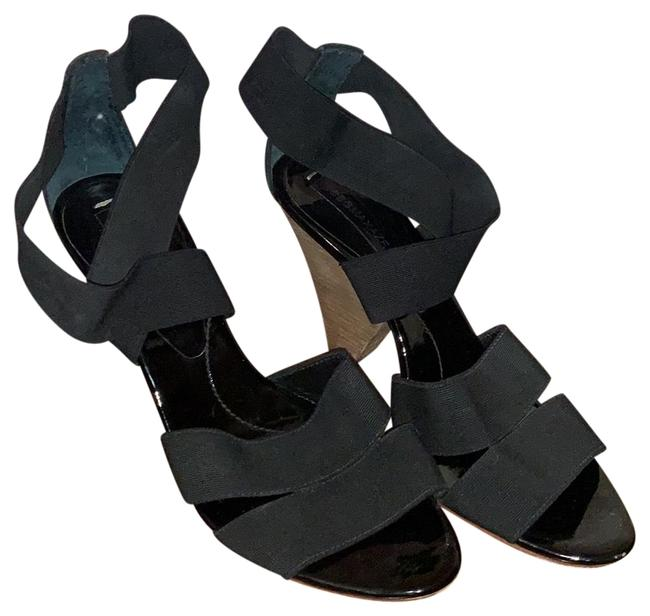 Item - Black Strappy Elastic Heels Pumps Size US 6.5 Regular (M, B)