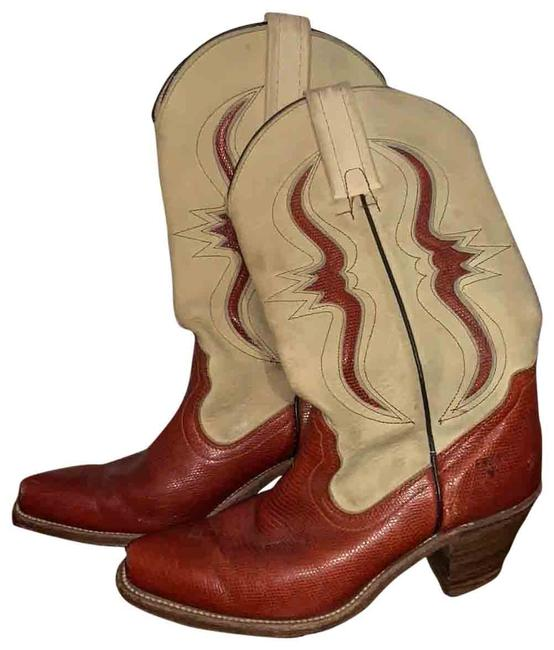 Item - Red and Tan Vintage Cowboy Boots/Booties Size US 7.5 Regular (M, B)