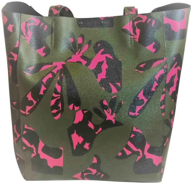 Item - Pink Strawberry and Navy Olive Green Coated Canvas Tote