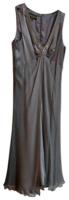 Item - Gray Satin with Chiffon Overlay Mid-length Cocktail Dress Size 8 (M)