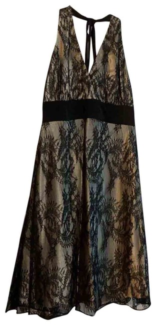 Item - Black Lace/ Taupe Overlay Halter Mid-length Cocktail Dress Size 8 (M)