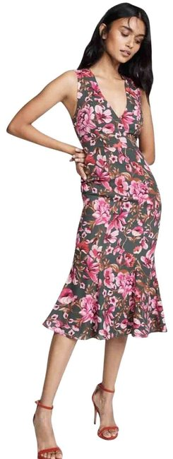 Item - Pink Bianca Floral Olive Sleeveless Mid-length Casual Maxi Dress Size 10 (M)