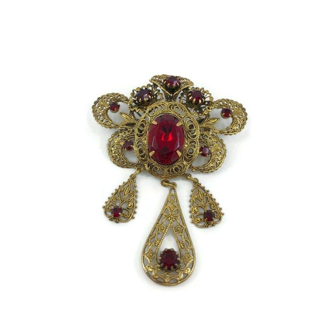 Item - Red Mid Century Filigree Czech Glass Brooch with Dangles 1940s 1950s