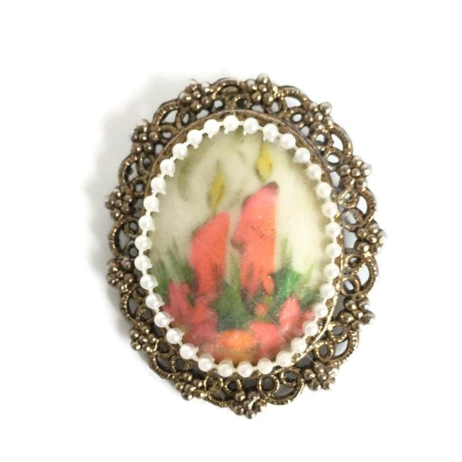 Item - Red Christmas Brooch Pendant with Hand Painted Christmas Candles Faux