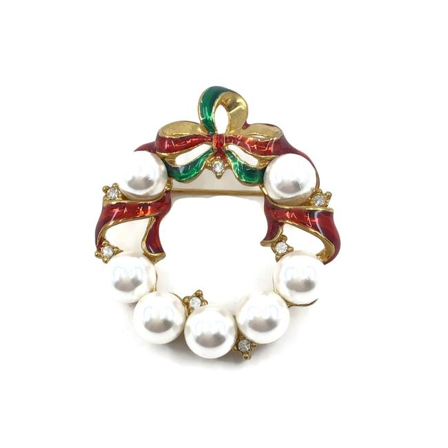 Item - Red & Green Christmas Wreath Brooch Faux Pearls Christmas Party Teacher Cosmetic Bag