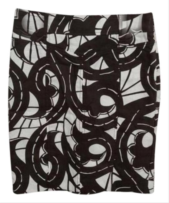 Item - White Brown Abstract Swirl Pencil Skirt Size 4 (S, 27)