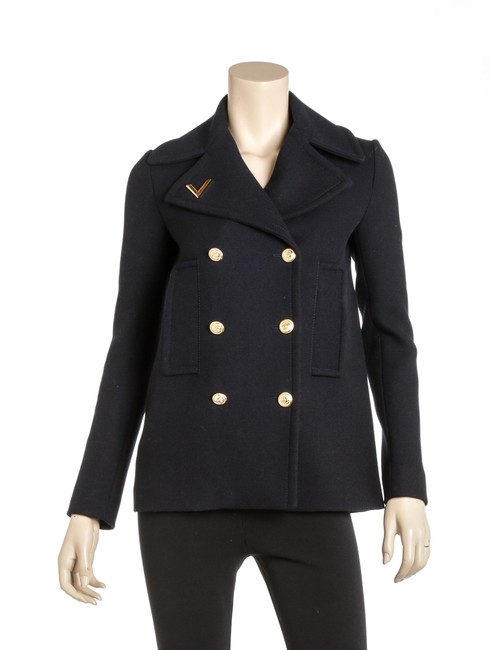 Item - Navy Oqs 502085 Wool V-detail Double-breasted Coat Size 2 (XS)