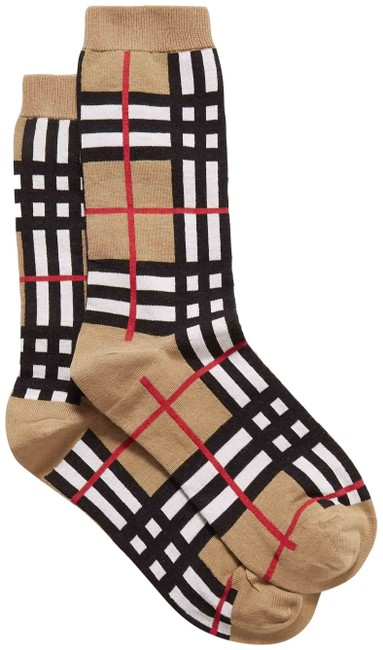 Item - Beige Check Large Socks