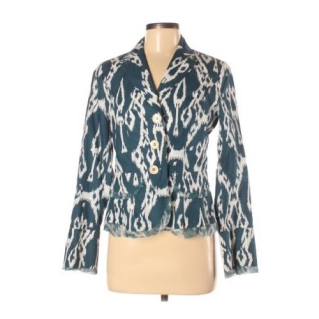 Item - Blue Printed Teal Button Front Blazer Size 8 (M)