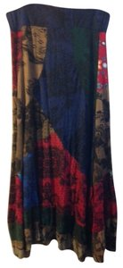 Desigual Patchwork/lace 100% Midi-length Skirt multi-color reds, blues, greens & browns W/black lace pattern