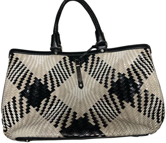 Item - Weaved Black and Cream Leather Tote