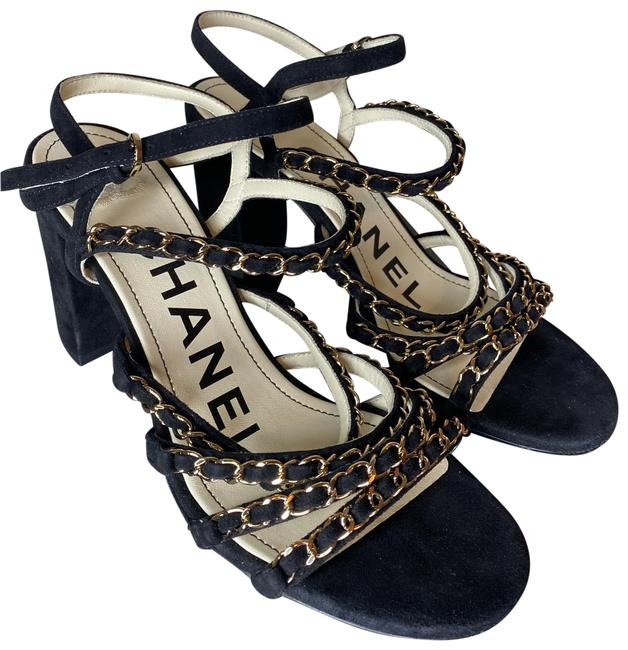 Item - Black and Gold Chains Sandals Size EU 38.5 (Approx. US 8.5) Regular (M, B)