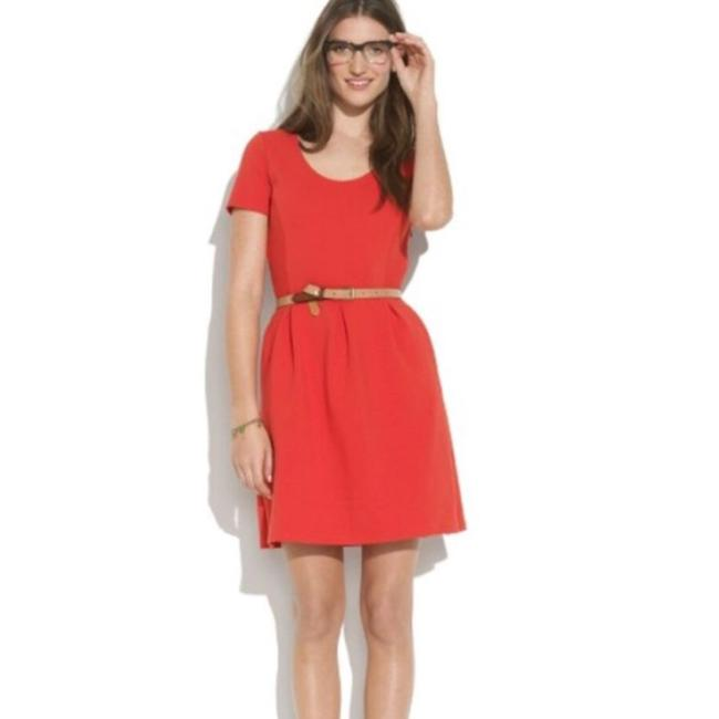 Item - Red Gallerist Ponte Pleated Sleeve Fit & Flare Short Casual Dress Size 12 (L)