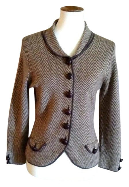 Item - Brown & Cream 1990's Merino Wool Suede Patch Cardigan Size 6 (S)