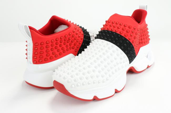 Christian Louboutin White/Black/Red Spike-embellished Neoprene Sock Trainers Shoes Christian Louboutin White/Black/Red Spike-embellished Neoprene Sock Trainers Shoes Image 1