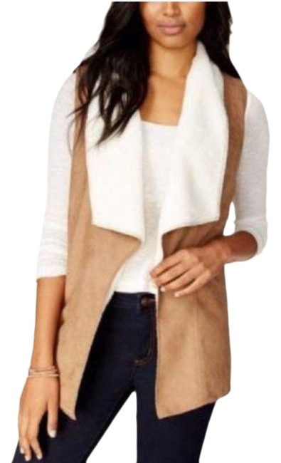 Item - Tan White Ultra Soft Warm Faux Shearling Vest Size 4 (S)