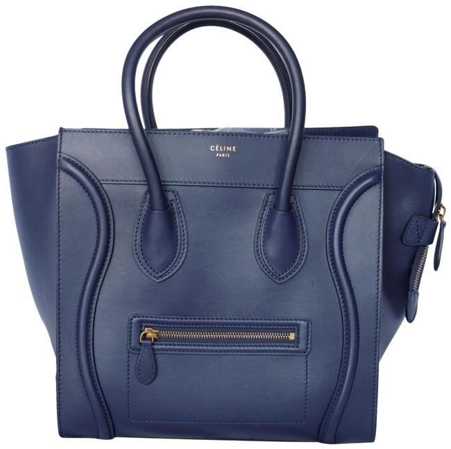Item - Luggage Blue Mini Navy Calfskin Leather Tote