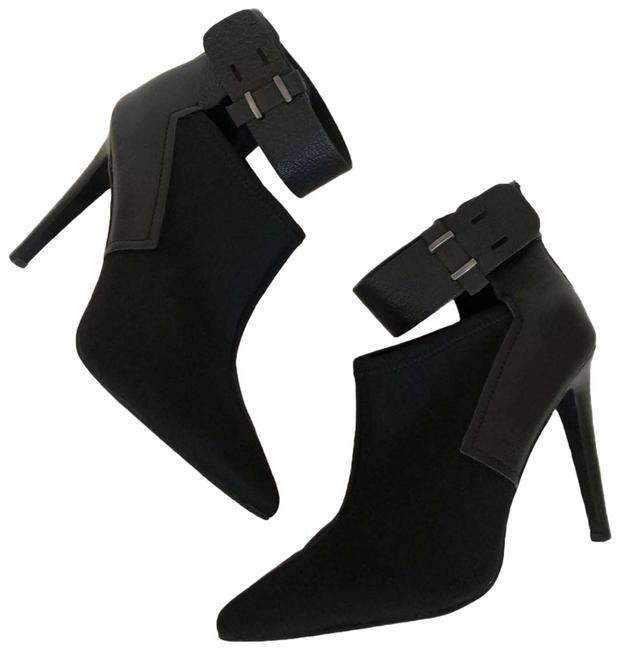 Item - Black Scuba And Leather Ankle Cuff / Ankle Boots/Booties Size US 8.5 Regular (M, B)