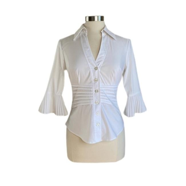 Item - White Pleated Bell Sleeve Button-down Top Size 2 (XS)