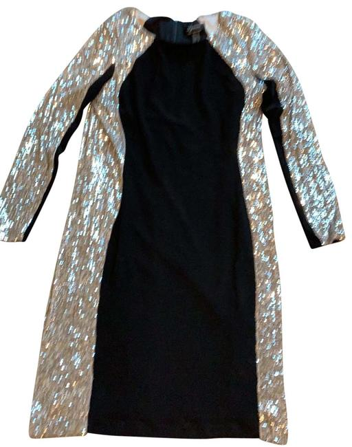 Item - Black with Silver Sequin Sides Near Shoulder and On Sleeves. Short Cocktail Dress Size 12 (L)