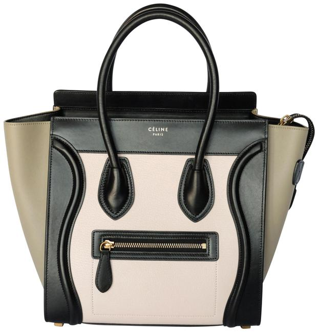 Item - Luggage Tricolor Nubuck and Smooth Calfskin Micro Multicolor Light Rose Leather Tote