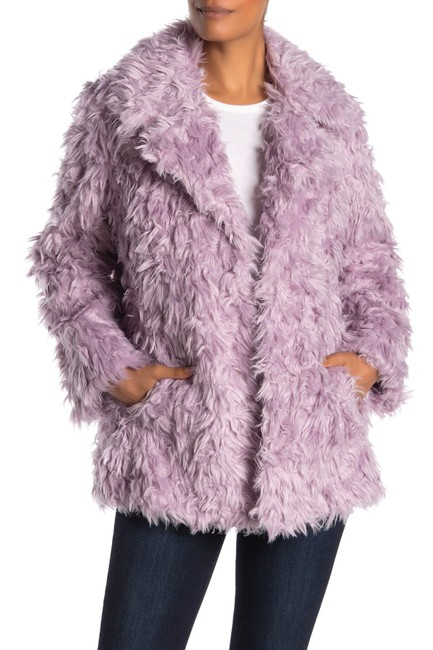 Item - Lilac Notch Collar Curly Faux Jacket Coat Size 8 (M)