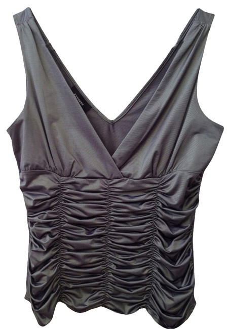 Preload https://item1.tradesy.com/images/express-metallic-silver-vneck-tank-topcami-size-8-m-2829940-0-0.jpg?width=400&height=650