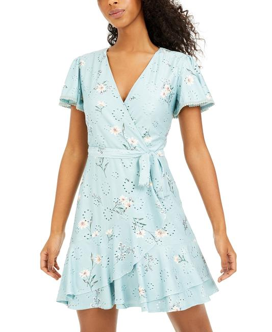 Item - Sage/Ivory Juniors' Printed Eyelet Faux-wrap Sage/Ivory Short Cocktail Dress Size 4 (S)